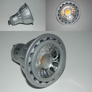 Dimbare GU10 power LED lamp cobverlichting cob spots 5 watt 2800 K