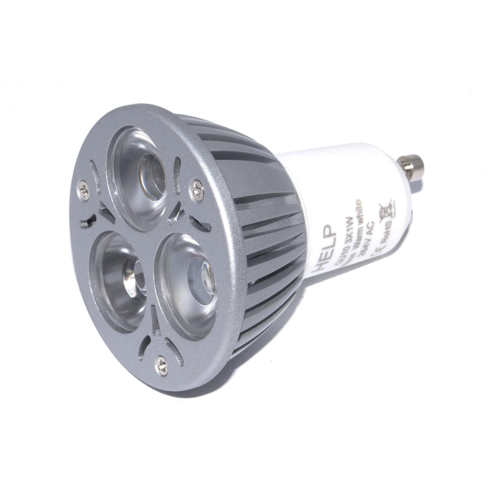 Gu10 powerled 3x1w power led spot 3 watt warm wit 45 for Led lampen 0 3 watt