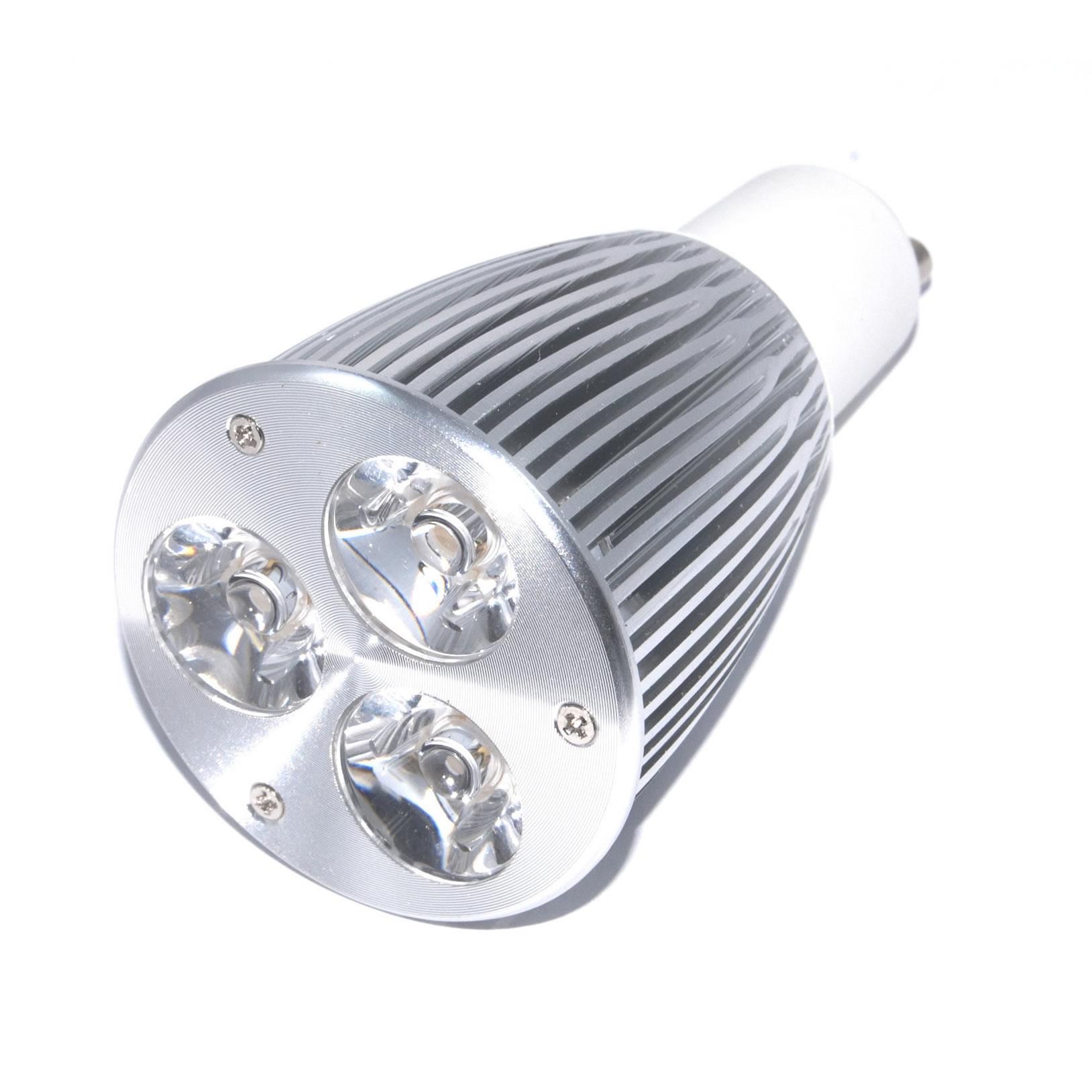 Gu10 powerled 3x3w power led spot 9 watt warm wit 45 for Led lampen 0 3 watt